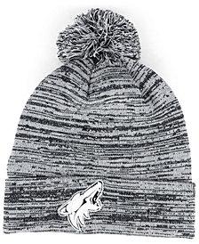 Authentic NHL Headwear Arizona Coyotes Black White Cuffed Pom Knit Hat