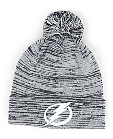 Authentic NHL Headwear Tampa Bay Lightning Black White Cuffed Pom Knit Hat