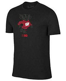 Champion Men's Wisconsin Badgers Black Out Dual Blend T-Shirt