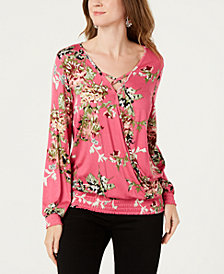 Style & Co Printed-Stripe Smocked Surplice Top, Created for Macy's