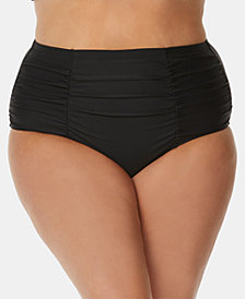 Raisins Curve Trendy Plus Size Juniors' Tummy-Control Bikini Bottoms