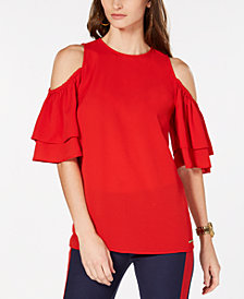 MICHAEL Michael Kors Ruffled Cold-Shoulder Top, In Regular & Petite Sizes