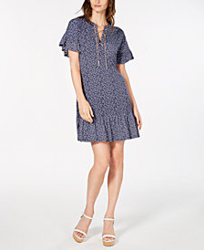MICHAEL Michael Kors Lace-Up Paisley Flounce Dress, In Regular & Petite Sizes