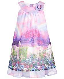 Blueberi Boulevard Little Girls Unicorn Chiffon Shift Dress