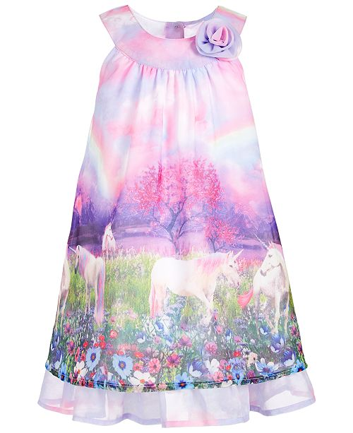 Blueberi Boulevard Toddler Girls Unicorn Chiffon Shift Dress