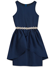 Rare Editions Big Girls Embellished-Waist Peplum Dress