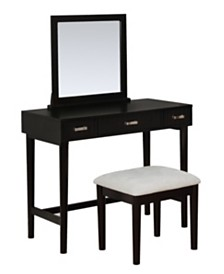 Garbo Black Vanity Set with Bench and Mirror