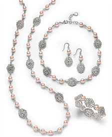 Charter Club Silver-Tone Crystal Filigree & Imitation Pearl Jewelry Separates, Created for Macy's