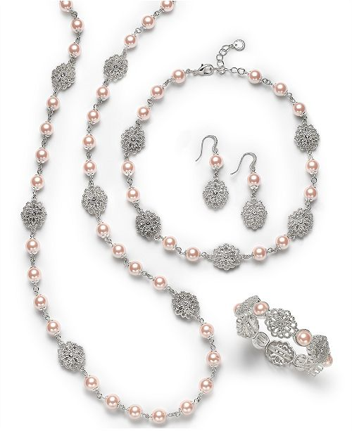 09ceaaba4 Charter Club Silver-Tone Crystal Filigree & Imitation Pearl Jewelry  Separates, Created for Macy's