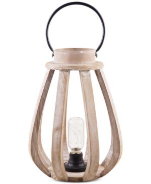 Home Essentials Coastal Led Wood Hurricane Lantern