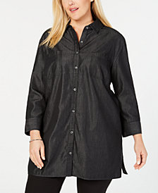 Karen Scott Plus Size Chambray Tunic, Created for Macy's