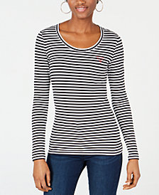 GUESS Iconic Triangle-Logo Striped Top