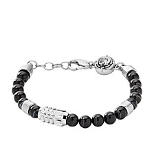 Men's Silver Tone and Black Agate Stainless-Steel Beaded Bracelet