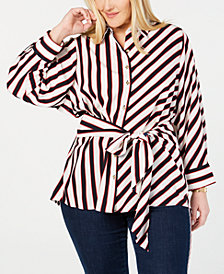 Tommy Hilfiger Plus Size Striped Tie-Waist Tunic