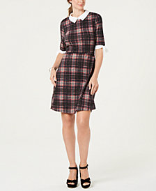 Monteau Petite Collared Plaid Dress
