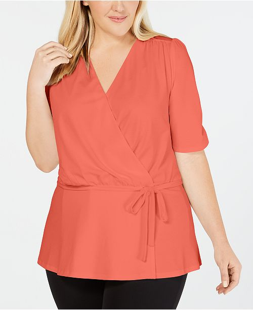 John Paul Richard Plus Size Faux-Wrap Top