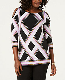 JM Collection Chain-Link Cold-Shoulder Tunic, Created for Macy's