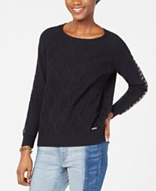 Tommy Hilfiger Cable-Knit Grommet-Sleeve Sweater, Created for Macy's