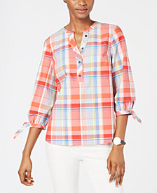 Tommy Hilfiger Cotton Plaid Popover Shirt, Created for Macy's