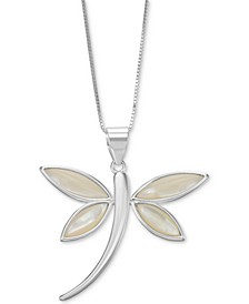 """Mother-of-Pearl Dragonfly 18"""" Pendant Necklace in Sterling Silver"""
