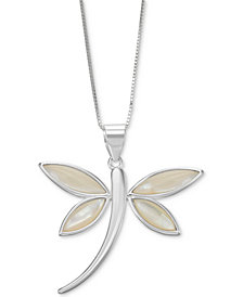 "Mother-of-Pearl Dragonfly 18"" Pendant Necklace in Sterling Silver"