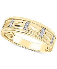 Men's Diamond Band (1/10 ct. t.w.) in 10k Yellow Gold and 10k White Gold