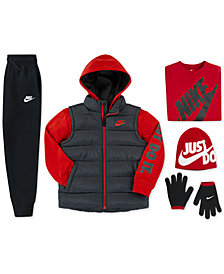 Nike Little Boys Quilted 2-in-1 Jacket, Futura-Print T-Shirt, Fleece Jogger Pants & Big Boys 2-Pc. Reversible Hat & Gloves Set