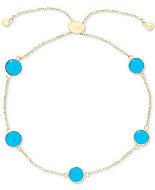 EFFY® Manufactured Turquoise (6mm) Bolo Bracelet in 14k Gold