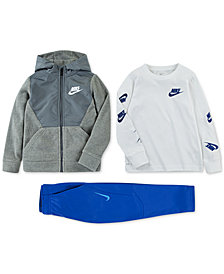 Nike Toddler Boys Fleece Zip-Up Hoodie, Logo-Print T-Shirt & Therma GFX Pants