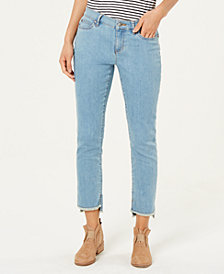 Eileen Fisher Organic Cotton Stretch Denim Raw High-Low Hem Slim-Fit Jeans, Regular & Petite
