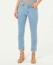 6727283038 Eileen Fisher Organic Cotton Stretch Denim Raw High-Low Hem Slim-Fit Jeans