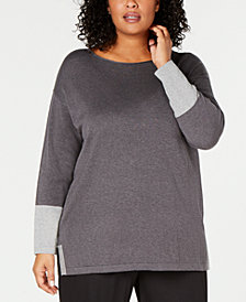 Eileen Fisher Plus Size Cotton Silk Boat-Neck Sweater