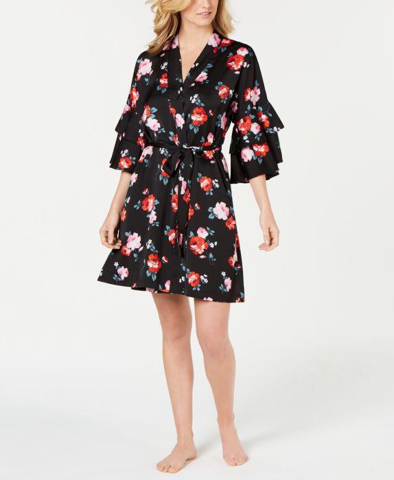 INC Satin Printed Flounce-Sleeve Wrap Robe, Multi, Size: XL