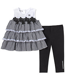 Calvin Klein Baby Girls 2-Pc. Gingham Ruffle Tunic & Leggings Set