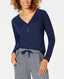 Charter Club Ribbed-Knit Henley Pajama Top, Created for Macy's