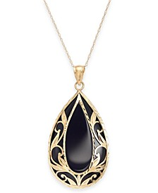 "Onyx (32 x 20mm) Filigree 18"" Pendant Necklace in 14k Gold"