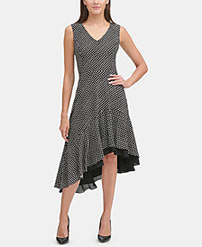 Tommy Hilfiger Polka Dot Asymmetrical Dress