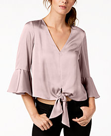 Bar III Tie-Front Crop Top, Created for Macy's