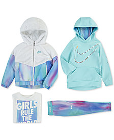 Nike Little Girls Hooded Sherpa Jacket, Logo-Print Hoodie, Graphic-Print T-Shirt & Printed Leggings