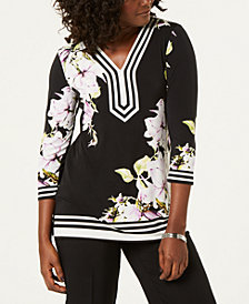 JM Collection Floral-Print Studded Tunic Top, Created for Macy's