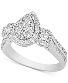 Teardrop Cluster Engagement Ring (1 ct. t.w.) in 14k White Gold