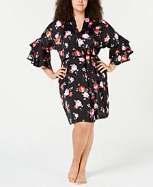 INC Plus Size Satin Flounce-Sleeve Wrap Robe, Created for Macy's