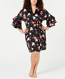 I.N.C. Plus Size Satin Flounce-Sleeve Wrap Robe, Created for Macy's