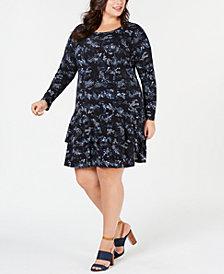 MICHAEL Michael Kors Plus Size Printed Flounce-Hem Dress
