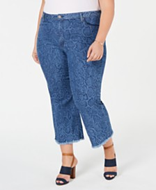 MICHAEL Michael Kors Plus Size Snake-Embossed Cropped Jeans