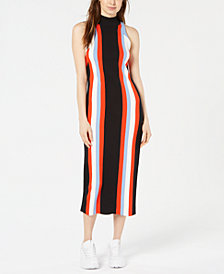 Bar III Vertical Striped Sleeveless Sweater Dress, Created for Macy's