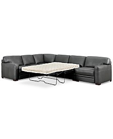 Avenell 3-Pc. Leather Sleeper Sectional Sofa with Chair, Created for Macy's