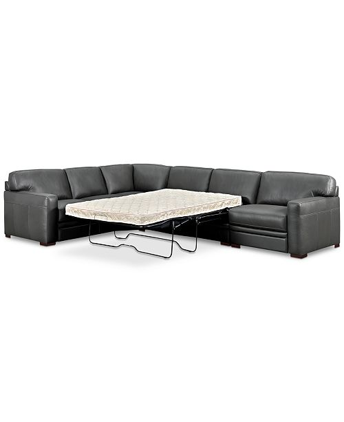 Avenell 3-Pc. Leather Sleeper Sectional Sofa with Chair, Created for Macy\'s