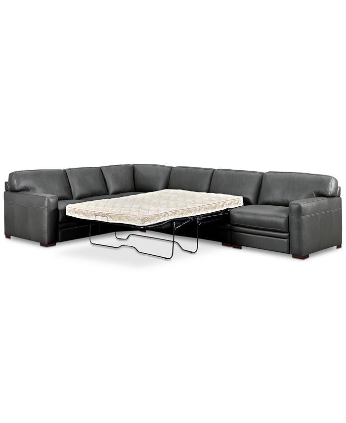 Furniture Avenell 3 Pc Leather Sleeper, Cream Sleeper Sofa With Chaise