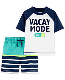 Carter's Toddler Boys 2-Pc. Vacay Mode Rash Guard & Striped Swim Trunks Set